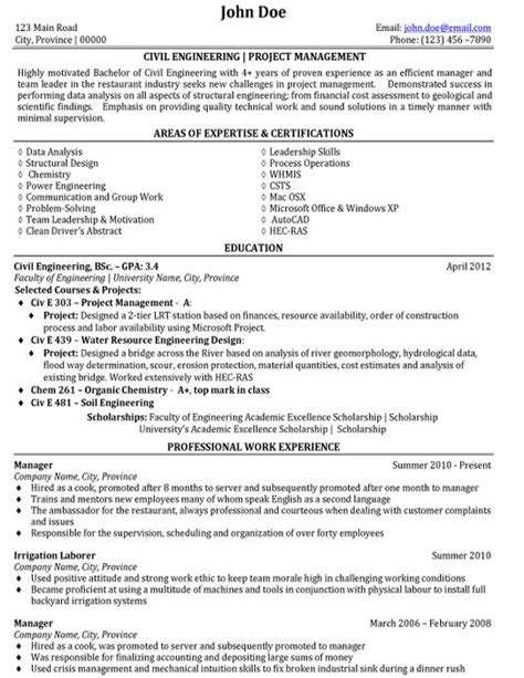resume areas of expertise best certifications civil engineering resume exle with