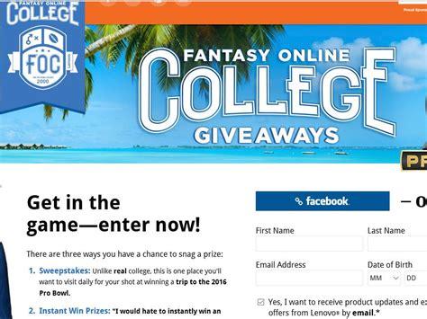 College Sweepstakes 2015 - lenovo fantasy online college giveaways sweepstakes sweepstakes fanatics
