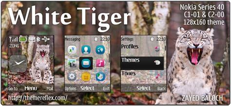 themes hd c1 white tiger theme for nokia c1 01 c2 00 2690 128 215 160