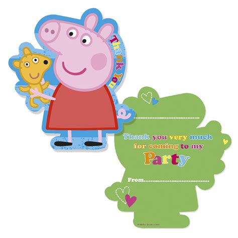 you peppa pug peppa pig thank you cards partyware essentials ark