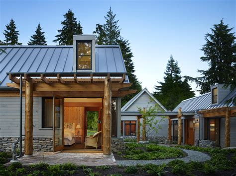 modern cabin rustic exterior seattle by johnston architects key peninsula residence