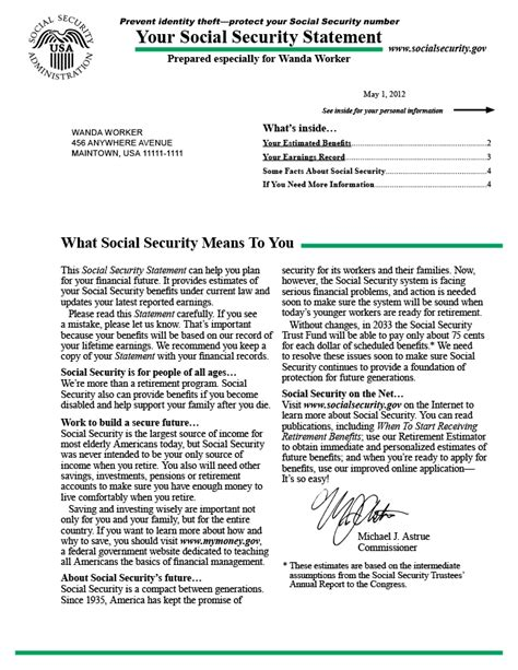 The Social Security Statement Background Implementation And Recent Developments Social Security Award Letter Template
