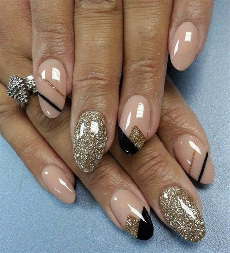 different ideas of nail paint with beige and black colors trendyoutlook
