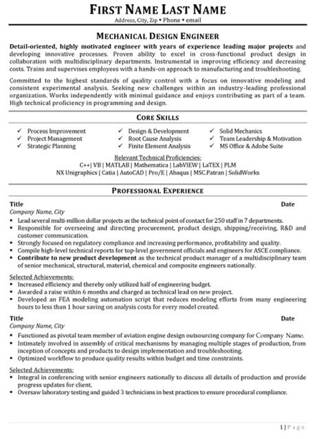 Resume Sles For Experienced Mechanical Design Engineers Mechanical Design Engineer Resume Sle Template