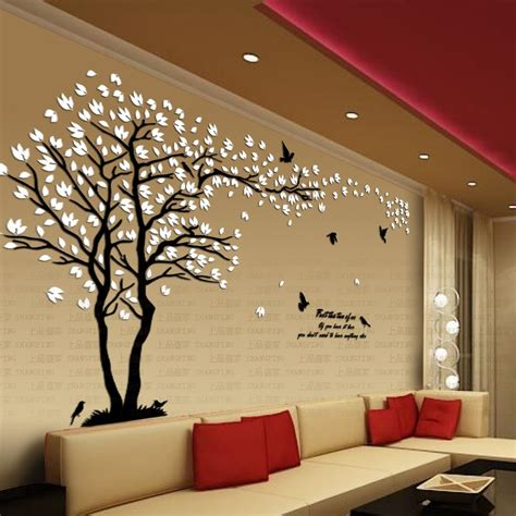 living room decals new arrival lovers tree crystal three dimensional wall