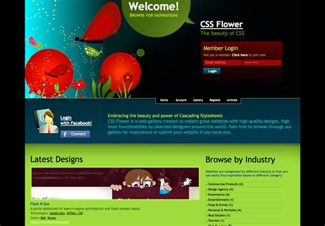 website layout design using css css flower styletheweb com