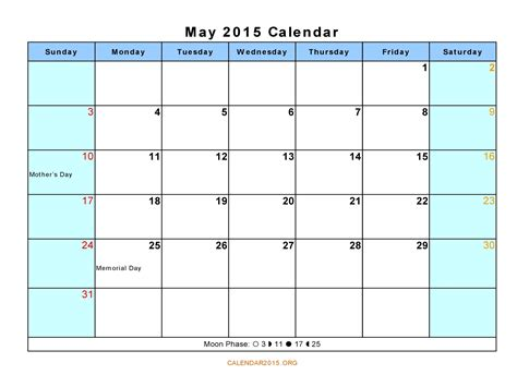 printable planner for may 2015 may 2015 calendar with holidays gallery