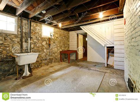 basement brick wall basement room with trim walls stock photo image