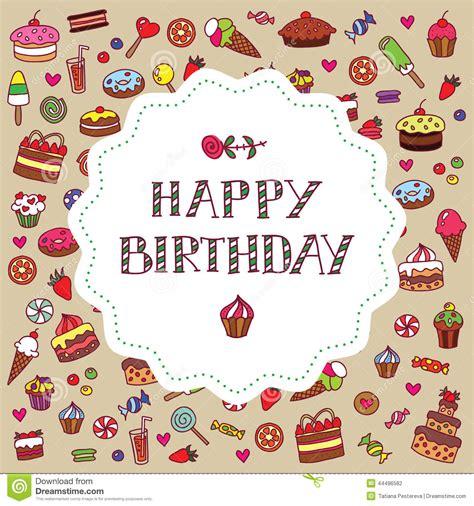 carte d anniversaire avec des bonbons illustration stock