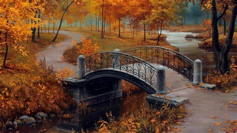 autumn   park painting art wallpaper wallpaper