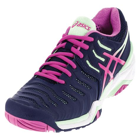pink tennis shoes s gel resolution 7 tennis shoes indigo blue and pink