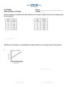 Rate Of Change From A Table Slope Rate Change Tables Worksheet