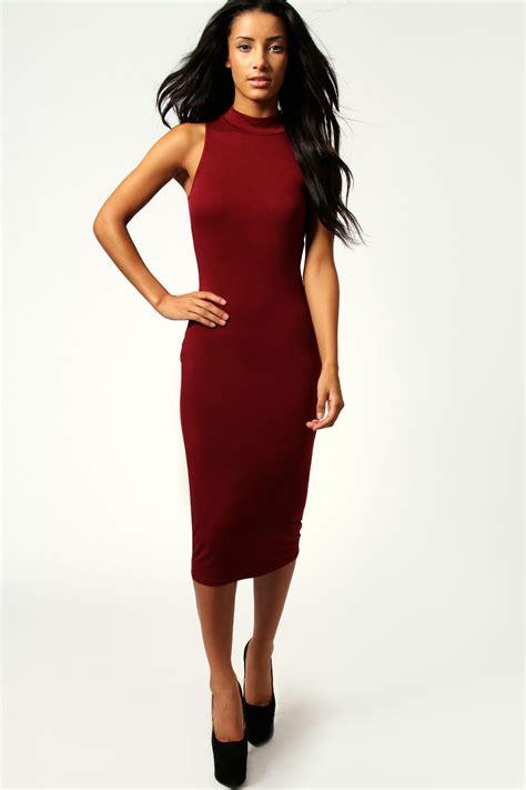 Sleeveless Bodycon Midi Dress billie high neck sleeveless midi bodycon dress berry