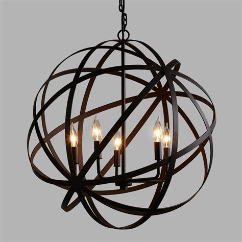 Steel Chandelier Large Metal Orb Chandelier World Market