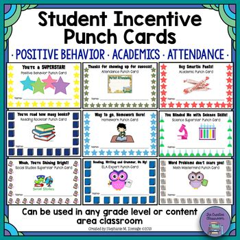 punch card template student student rewards punch cards by the creative classroom tpt