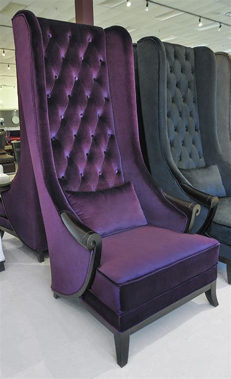 purple velvet high back chair product printer friendly page
