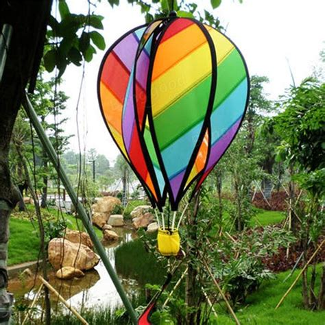 striped rainbow windsock air balloon wind spinner garden yard outdoor decor sale