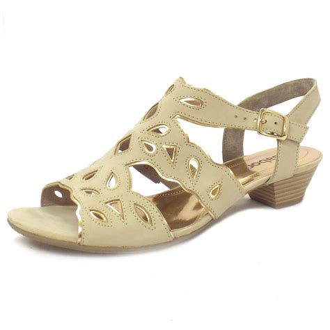 beige heeled sandals gabor sandals castle low heel sandal in beige and pink