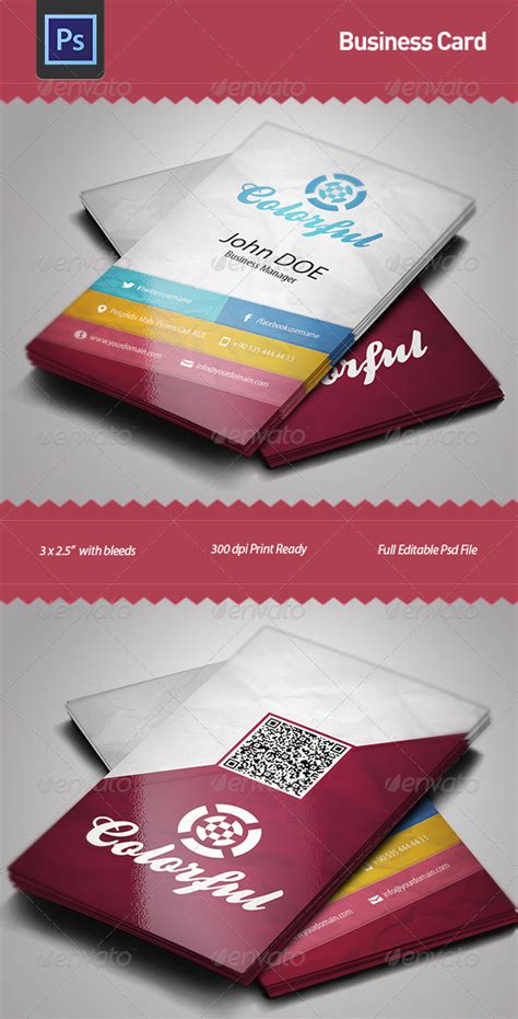 colorful business card template business card template colorful graphicriver