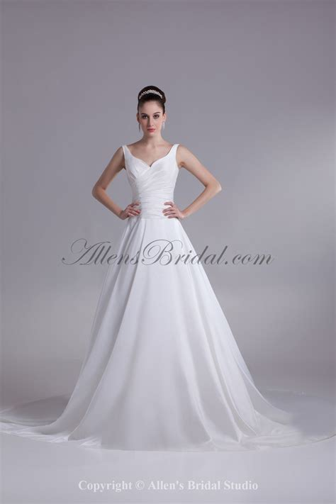 allens bridal taffeta straps neckline chapel train ball