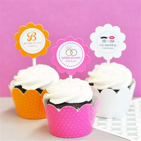 personalized theme cupcake wrappers cupcake toppers set of 24 cupcake wedding and