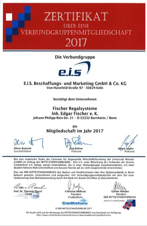 Fischer Regalsysteme by Eis Zertifikat Regalsysteme Fischer