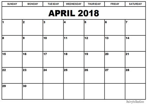 printable calendar 2018 april april 2018 calendar print out