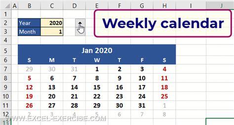weekly calendar    formula excel exercise