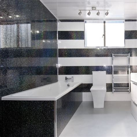 White Pvc Cladding For Bathrooms by 5 Black Sparkle Effect Pvc Bathroom Cladding