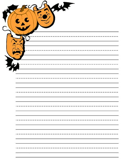 printable pumpkin stationery 6 best images of free printable halloween lined writing