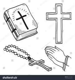 christian hand drawn symbols illustration cross bible