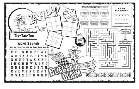 Burger Claim Strike It Rich In Taste Activity Page