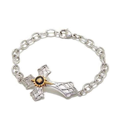 Michael Anthony Jewelry® 2 Tone Nativity Stone Cross Stainless Steel Bracel   8214805   HSN