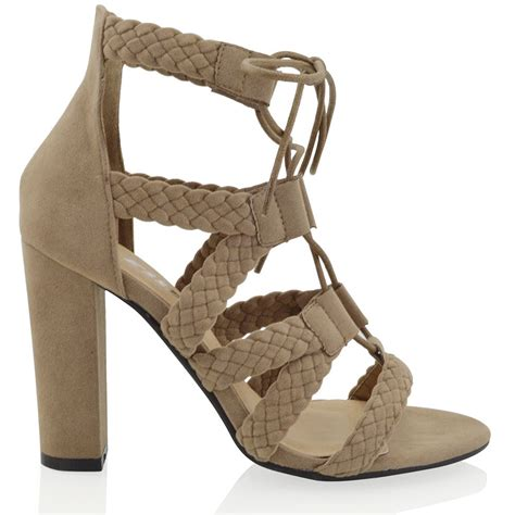 caged sandals heels new womens caged ankle high heel lace up woven