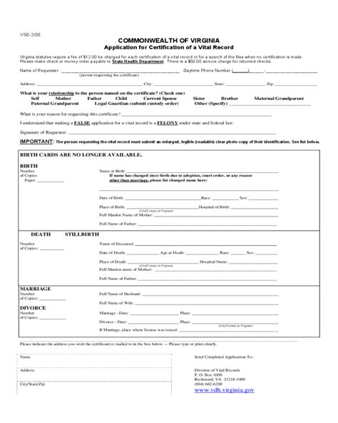Va Divorce Records Application For Certification Of A Vital Record Virginia