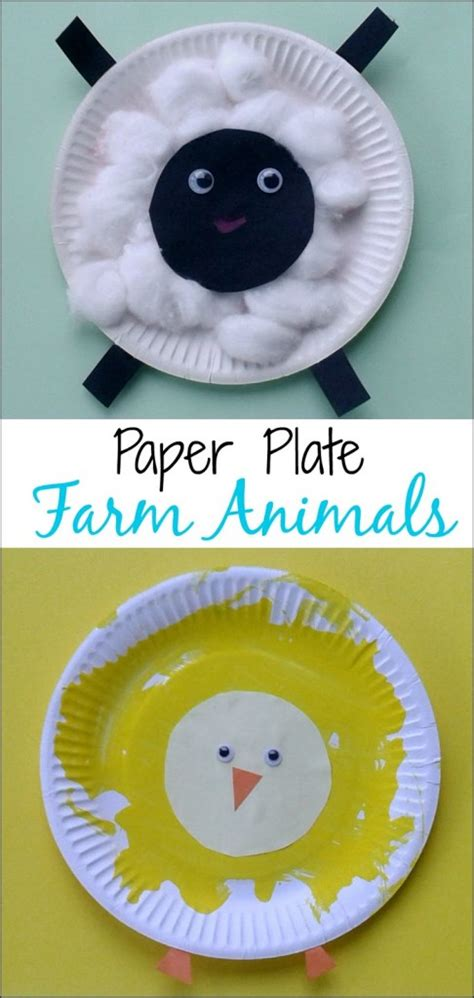 Paper Plate Animal Crafts - crafts for toddlers paper plate baby farm animals mess