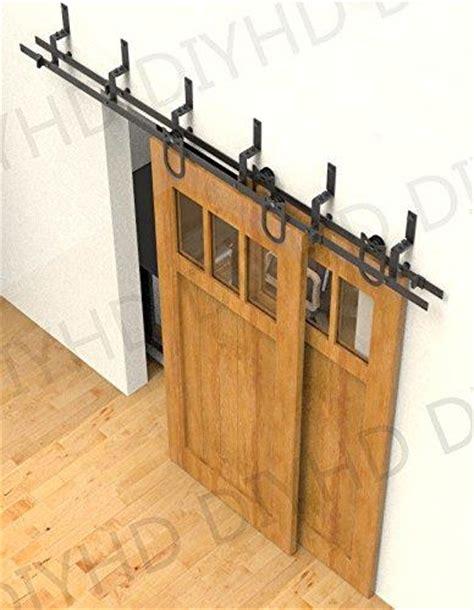Bypass Sliding Barn Door Hardware 5ft Horseshoe Rustic Black Bypass Sliding Barn Wood Door Hardware