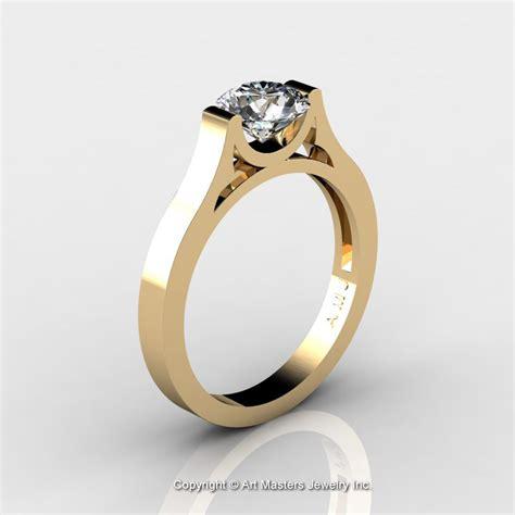 modern 14k yellow gold designer wedding ring or engagement