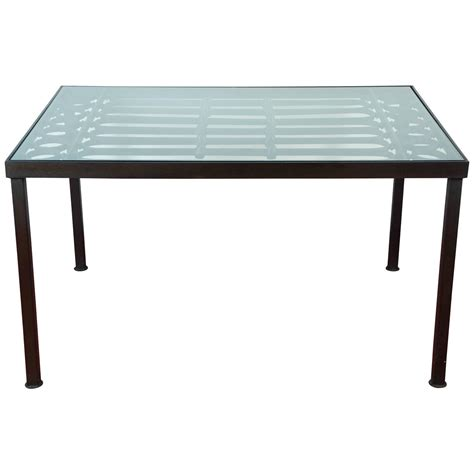 Glass Outdoor Dining Table Wrought Iron And Glass Indoor Outdoor Dining Table For Sale At 1stdibs