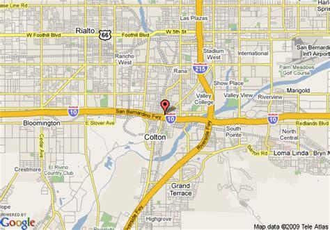 colton ca map of hton inn and suites colton san bernardino ca