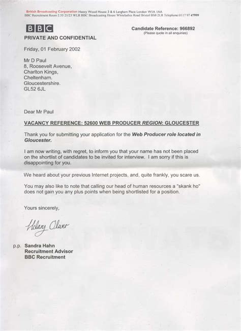 Rejection Letter Of Employment funniest rejection letters ever theemployable