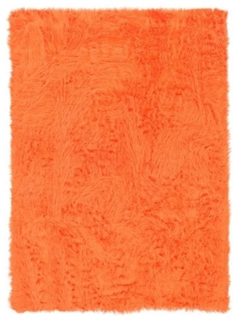 Modern Orange Rug Faux Sheepskin Orange Rug Modern Rugs By Wayfair
