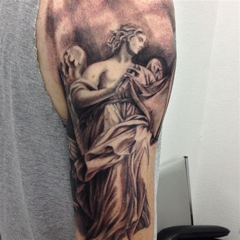 half sleeve tattoo designs black and gray angel tattoo love