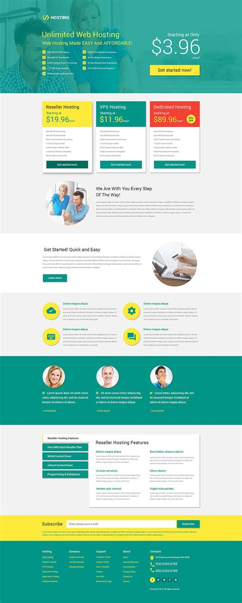 page template hosting responsive landing page template 53399