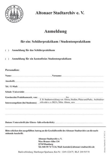 Praktikum Bewerbung Vordruck Arbeiten Im Archiv Altonaer Stadtarchivs Webseite