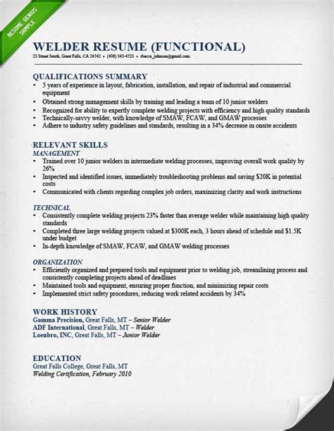 Welder Resume Template by Construction Worker Resume Sle Resume Genius