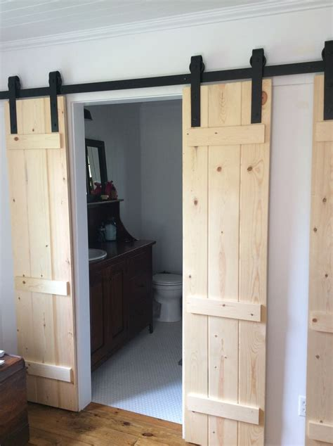 barn door bathroom privacy my husband made these barn doors to add privacy to our