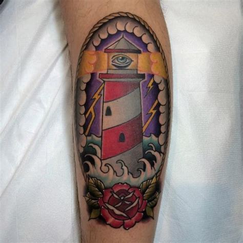 tattoo old school lighthouse tatuaje new school ternero faro por pat whiting