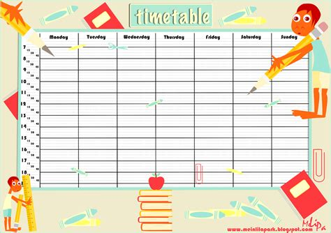 School Timetable Template Free free printable school timetable and school scrabpooking embellishment ausdruckbarer
