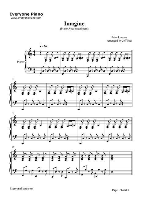 free printable sheet music for imagine by john lennon imagine john lennon stave preview 1 free piano sheet